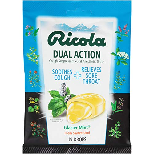 Ricola Dual Action Cough Suppressant Drops, Glacier Mint, 19 Drops