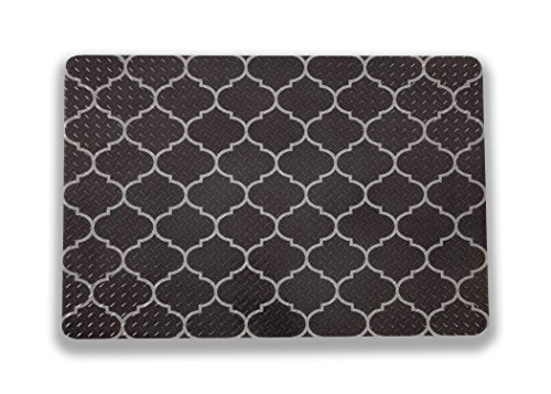 Resilia - Grill and Garage Protective Mat - Decorative Embossed Diamond Plate Pattern - Gray Turkish Lattice, (3 Feet x 4 Feet)