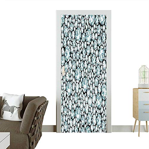 Homesonne Door Art Sticker Fifty Shades of Group of Blowing Silver Diamonds Treasure Island at Black Room decorationW38.5 x H77 INCH from Homesonne