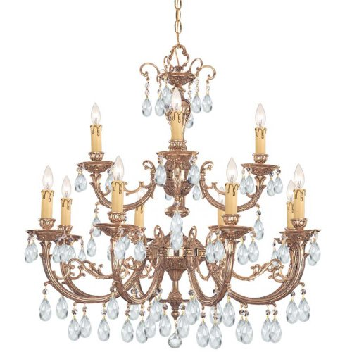 Crystorama 499-OB-CL-SAQ Crystal 12 Light Chandelier from Etta collection in (Etta Olde Brass Chandelier)