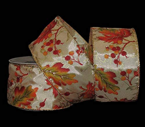 25 Feet Fall Autumn Leaves Berries Gold Glitter Golden Ivory Wired Ribbon 2 1/2