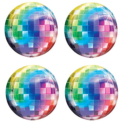 70's Disco Laser Ball Balloons Hangable 4Pcs 22in 4D Large Inflatable Sphere Aluminum Foil Balloon Mirror Metallic Balloon Birthday Party Wedding Baby Shower Decor 70s Color -
