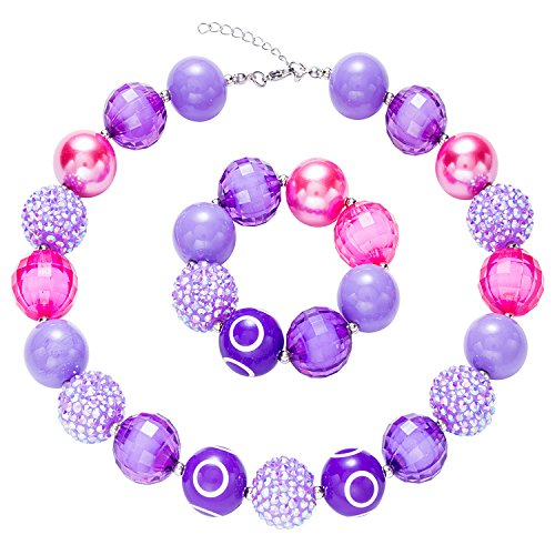 CB Chinaboy Chunky Bubblegum Necklace Rainbow Fashion Beads and Bracelet Set with Gift for Baby Girls (5 #)