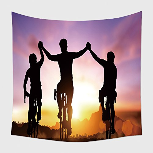 Home Decor Tapestry Wall Hanging Silhouette Bicycle On Sunset And Friendship In Bicycle Sport And Triathlon Sport for Bedroom Living Room - Shops In Triathlon London