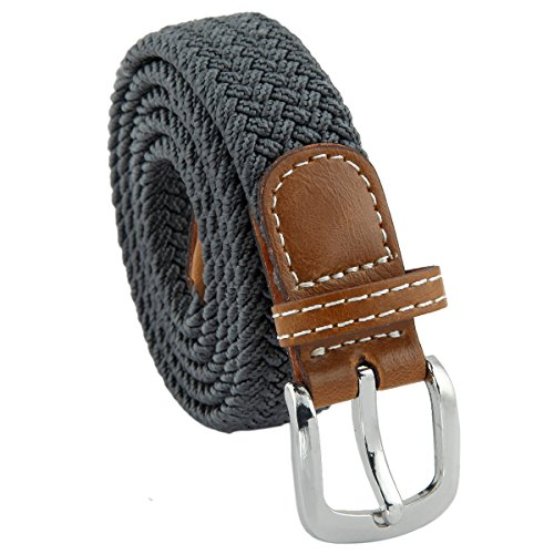 "Samtree Braided Belt for Women,PU Leather Stretch 1"" Width Woven Web Strap(Dark Grey)"