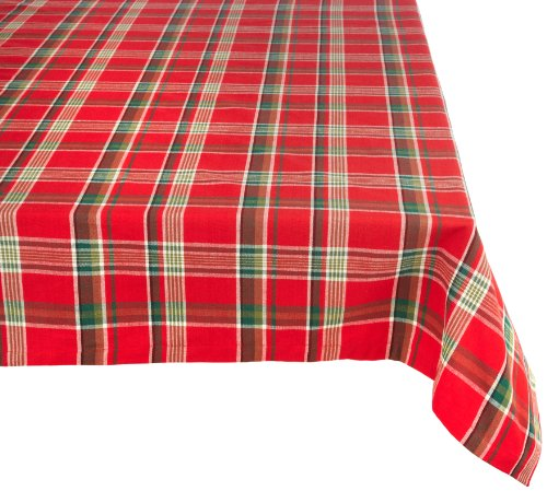 Tango Red Plaid Square Tablecloth, 100% Cotton with 1/2