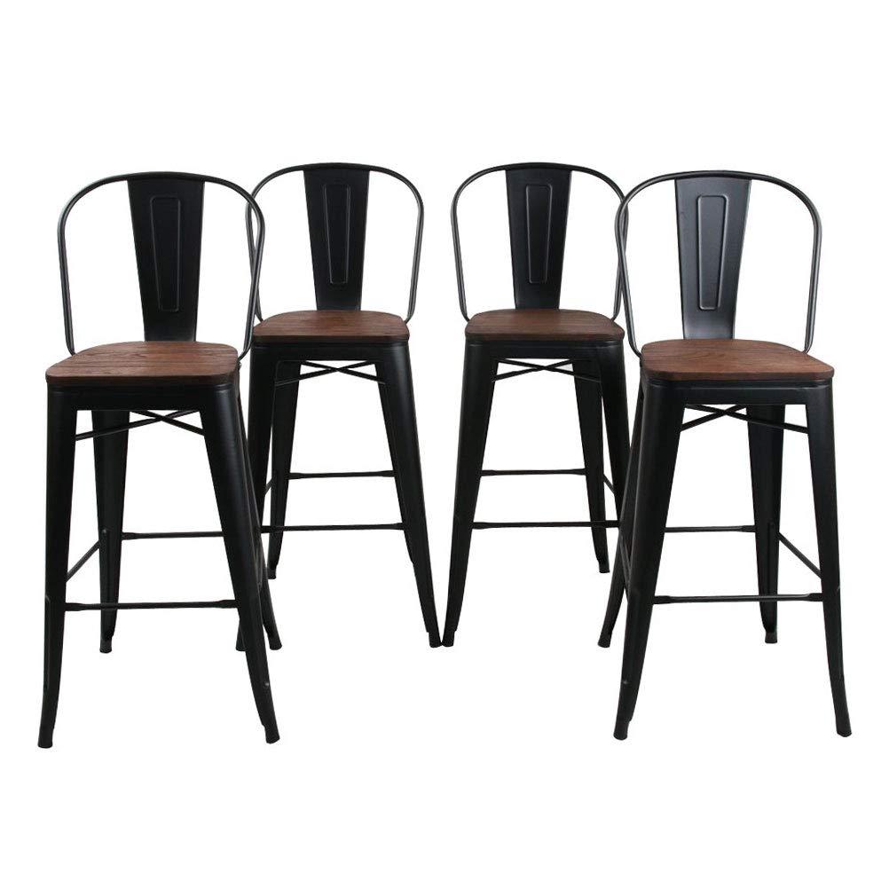 Set of 4 Black HAOBO Home 30 Backless Metal Counter Stool Height Bar Stools Barstools