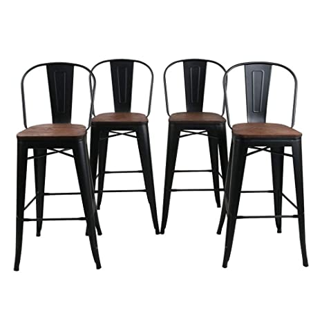 Magnificent Haobo Home 30 High Back Barstools Metal Stool With Wooden Seat Set Of 4 For Indoor Outdoor Bar Stools Matte Black Forskolin Free Trial Chair Design Images Forskolin Free Trialorg