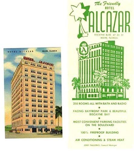 Hotel Alcazar Brochure & Postcard Biscayne Boulevard Miami Florida 1950's