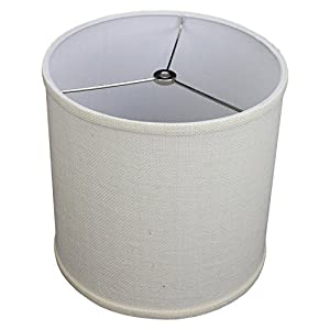 "FenchelShades.com 10"" Top Diameter x 10"" Bottom Diameter 10"" Height Fabric Drum Lampshade Spider Attachment (Burlap Off White)"