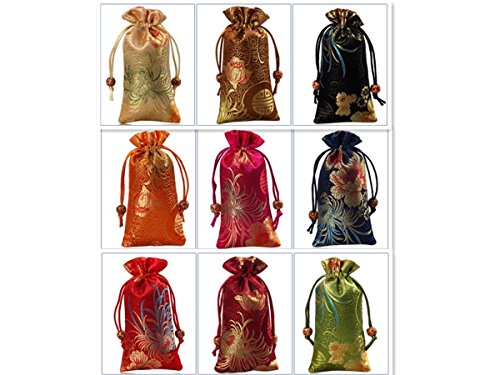 Bamboo Bedroom Armoire (2500 Silk Brocade Double Layer Pouch Jewelry Travel Drawstring Coin Purse Gift Candy Bag 3.1