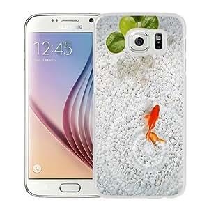NEW Unique Custom Designed Samsung Galaxy S6 Phone Case With Orange Fish White Stone Aquarium_White Phone Case