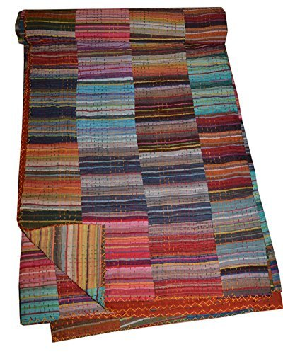 Tribal Asian Textiles Indian Multi Ethnic Multi Patch Stripe Kantha Quilt, Traditional Patchwork Handmade Kantha Quilt Throw Blanket