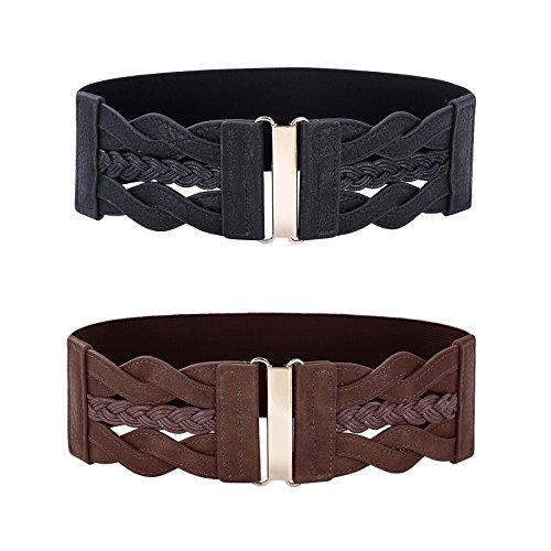 (Women Elastic Belts for 50s Dress Black Wide Belt Cinch)