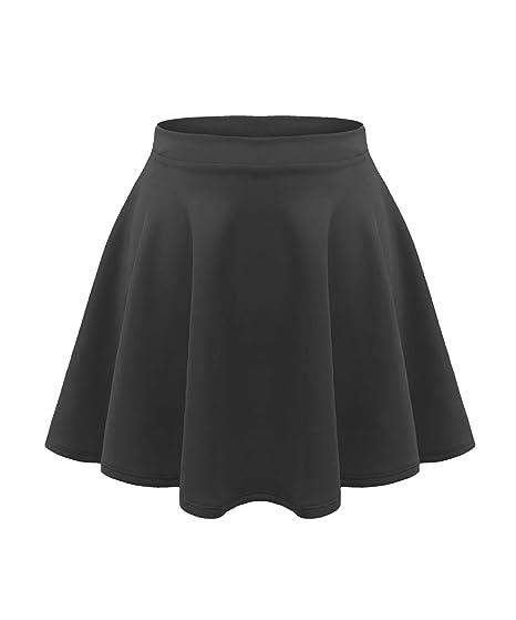 e7a951ed34bb Amazon.com: GirlzWalk New Girls Kids Flared Plain High Waist Flippy Short Mini  Skater Skirt: Clothing