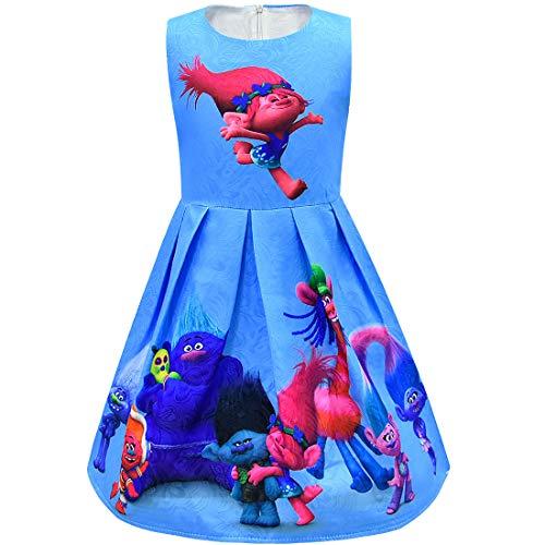 Subtle Halloween Costumes For Girls (ZHBNN Trolls Little Girls Printed Princess Dress Cartoon Party Dress)