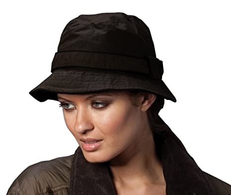 0894375e111 i-Smalls Ladies Cotton Waxed Bucket Hat with Contract Trim (Black)   Amazon.co.uk  Clothing
