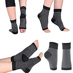 Compression Foot Sleeves for Men & Women - BEST Plantar Fasciitis Socks for Plantar Fasciitis Pain Relief, Heel Pain, and Treatment for Everyday Use with Arch Support (S)