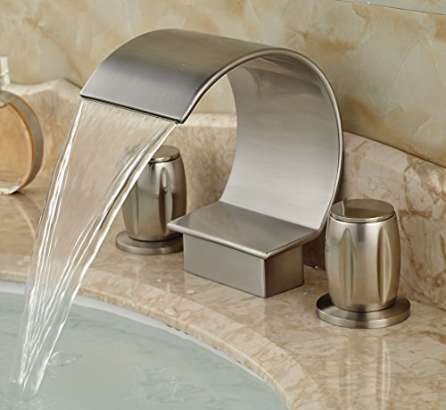 Rozin Widespread 3 Holes Bathtub Mixer Faucet Brushed Nickel by Rozin