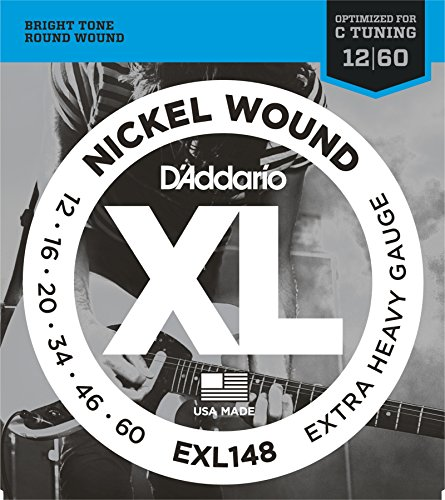 D'Addario XL Nickel Wound Electric Guitar Strings, Extra Heavy Gauge - Round Wound with Nickel-Plated Steel for Long Lasting Distinctive Bright Tone and Excellent Intonation - 12-60, 1 Set
