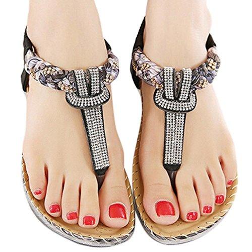 Upxiang Frauen Strand Schuhe Bohemia Strass Flache Schuhe Mode Flache Große Größe Casual Sandalen Schwarz