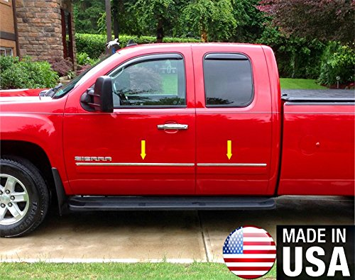 Made in USA! Works with 07-2013 GMC Sierra Extended Cab Rocker Panel Chrome Stainless Steel Body Side Moulding Molding Trim Cover Top 1