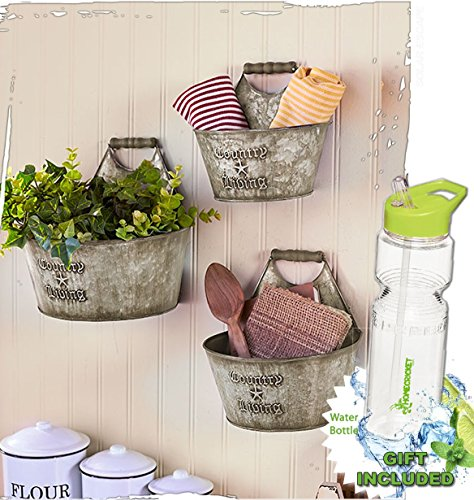 Gift Included- Set of 3 Rustic Country Living Wall Buckets Home Decor Accents + FREE Bonus 23 oz Water Bottle byHomecricket Bathroom Home Decor