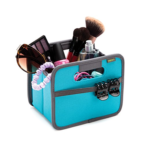 meori A100100 Mini Foldable Box, 1.8 Liter/.5 Gallon, Azure Blue To Organize Cosmetics, Electronics, Office Supplies and More -