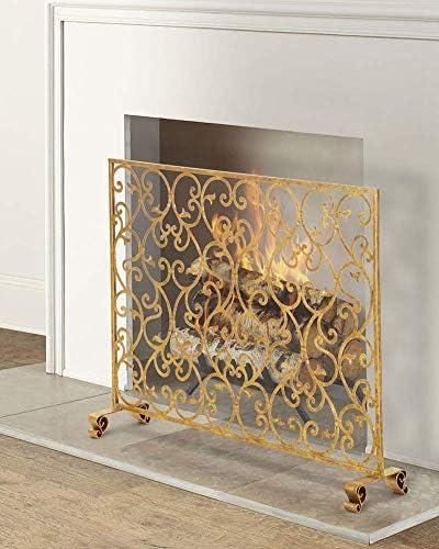暖炉用品・アクセサリ 錬鉄の暖炉スクリーン赤ちゃん安全、大型フラットスパークガードメッシュ、オープン火災/ガス火災/木材バーナーのため、38 W×H 30.7inch (Color : Gold)