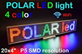 WiFi LED 4 color thin sign 20'' x 4'' with high resolution P5 and new SMD technology, aluminium body. Perfect solution for advertising