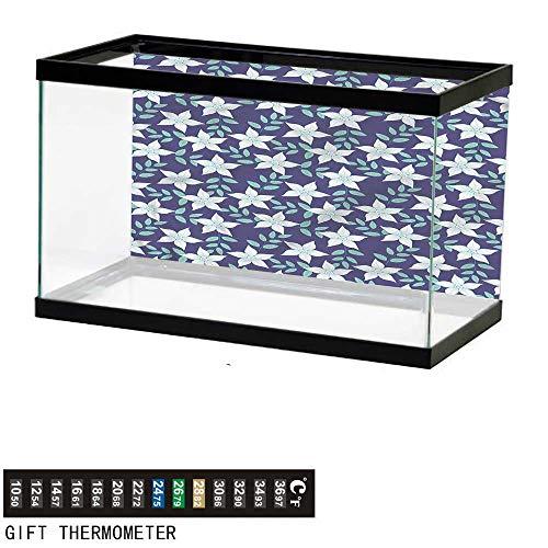 bybyhome Fish Tank Backdrop Indigo,Summer Island Flowers,Aquarium Background,48