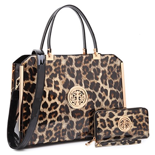 Dasein Women Large Handbag Purse Vegan Leather Satchel Work Bag Shoulder Tote with Matching Wallet (Leopard)