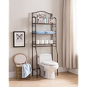 Kings Brand Furniture – Over The Toilet Storage Etagere Bathroom Rack Shelves Organizer, Pewter