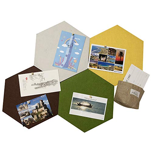 MCleanPin XL Size Hexagon Bulletin Board Wall Decoration – 4 Colors, Self-Stick Back, Cork Tiles Board for Office & Home décor, 11.8X10.24X0.47'' 4 Pack, Bonus- Storage Bag & Memo Pads & Pins