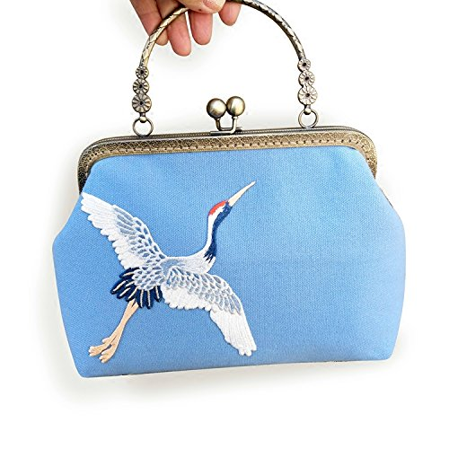 HLMHHL - Bolso de Mano de Lona con Bordado Original, Diseño Retro, Color Dorado
