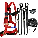 Fusion Climb Tactical Edition Kids Commercial Zip Line Kit Harness/Dual Lanyard/Trolley/Helmet Bundle FTK-K-HLLTH-04
