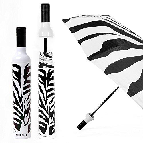 (VINRELLA Wine Bottle Umbrellas, Zebra Print)