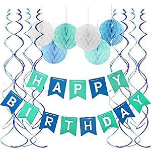 Best Epic Trends 51axr%2BlXiOL._SS300_ Fecedy Blue Happy Birthday Banner Honeycomb balls Swirls Streamers for Birthday Party Decorations
