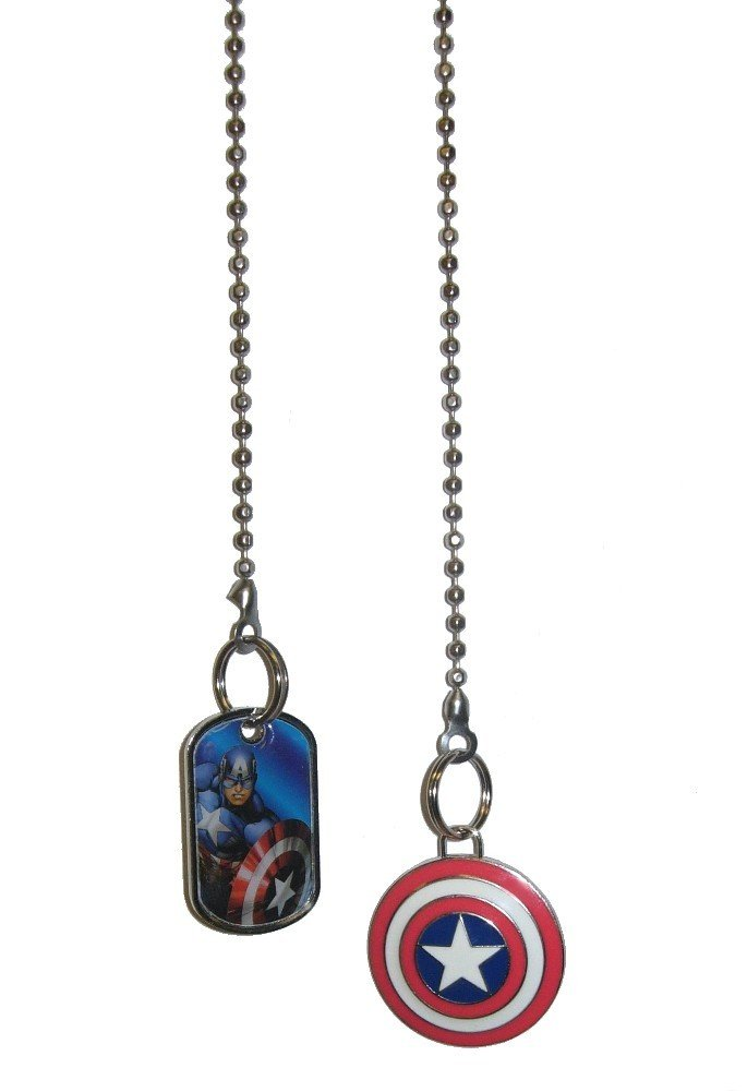 Marvel comics SUPER HERO superhero character Ceiling FAN PULL light chain (Captain America Portrait & Shield Logo) by Knight (Image #1)