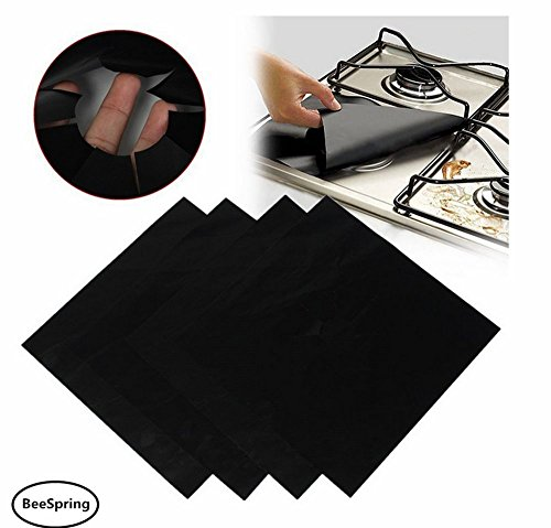 Gas Range Protectors, BeeSpring 4 Pcs Reusable Stovetop Protectors Non-Stick Cushion Stovetop Burner Protector Liner Cover Oil Proof, Anti Fouling Resistant Gas Hob Liner - Black color (Floor Gas Range)
