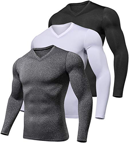 Lavento Men's 3 Pack Compression Shirts Baselayer Long-Sleeve Dry Fit T-Shirts (V Neck Black/Dark Gray/White,Medium)