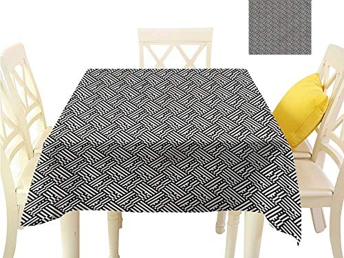 WilliamsDecor BBQ Tablecloth Checkered,Interwoven Style Modern Fabric Tablecloth W 60