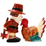 Turkey and Pilgrim Magnetic Ceramic Thanksgiving Salt and Pepper Shakers