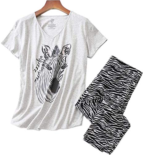 (Women's Cotton Pajama Set Capri Pants with Short Tops Sleepwear 2 Piece Knit Nightgown Lucky008-Zebra-XXL)