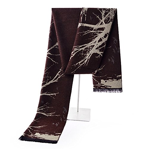 Mens Winter Cashmere Scarf - Ohayomi Fashion Formal Soft Scarves for Men(Ink/white) (Beanie Asap)