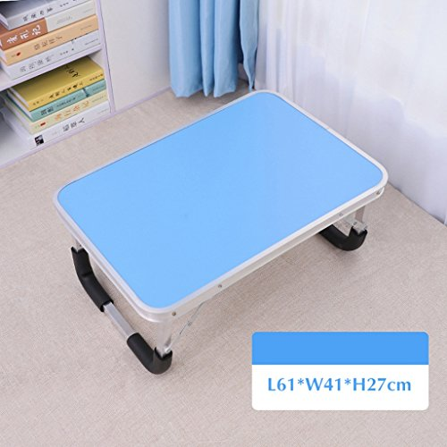 GFL Aluminum Alloy Folding Table Laptop Computer Dormitory Small Desk Computer Tables (Color : Blue) by GFL