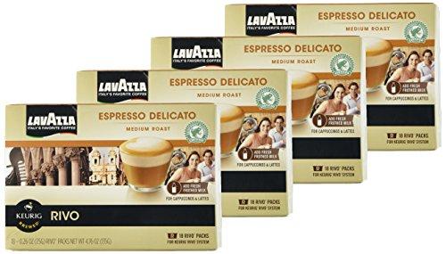 (Lavazza Espresso Delicato 72 Packs for Keurig Rivo System)