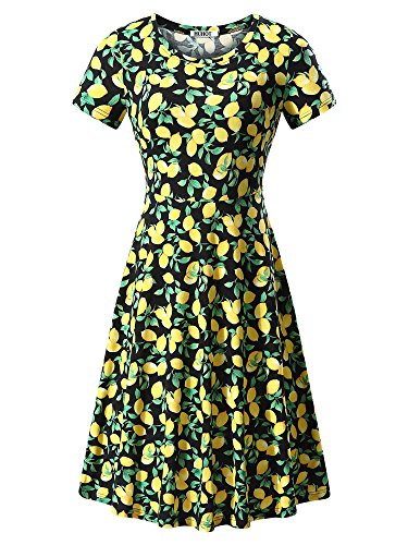 HUHOT Women Short Sleeve Round Neck Summer Casual Flared Midi Dress (Large, Floral-26)