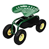 Wakrays Rolling Garden Cart Work Seat With Heavy Duty Tool Tray Gardening Planting Green
