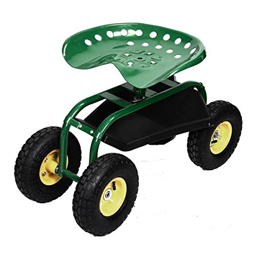 Heavy Duty Weather Resistant Rolling Work Seat Garden Cart With Tool Tray Perfect For Gardening Planting In Your Backyard